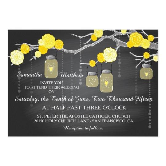 Roses Branches Chalkboard Wedding Invitation Card