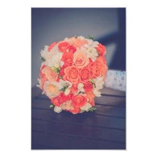 Roses bridal bouquet photo print