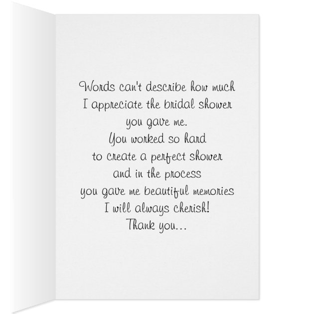Bridal Shower Thank You Card Wording For Hostess ~ Lading for .