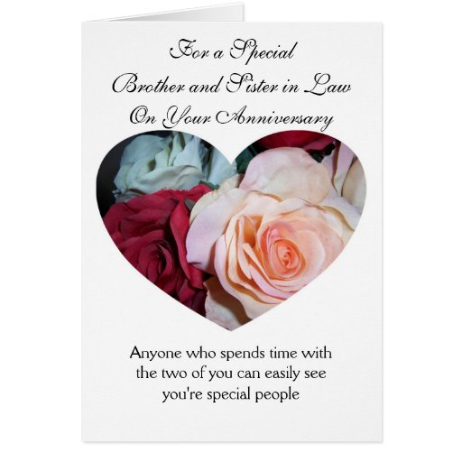 Roses brother and wife wedding anniversary card zazzle
