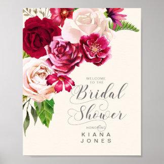 Roses Burgundy/Cream Wedding Bridal Shower ID584 Poster