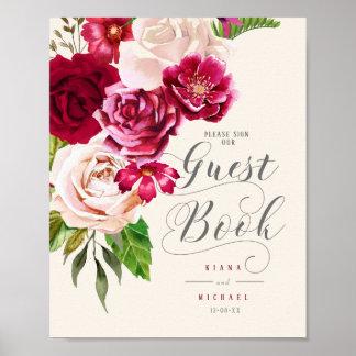 Roses Burgundy/Cream Wedding Guest Book ID584