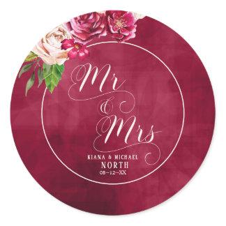 Roses Burgundy/Cream Wedding Mr and Mrs ID584 Classic Round Sticker