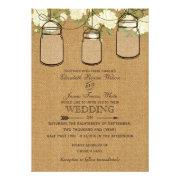 Rustic burlap roses mason jar wedding invites by mgdezigns