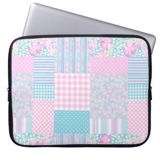 Roses, Butterflies, Faux Patchwork Laptop Sleeve