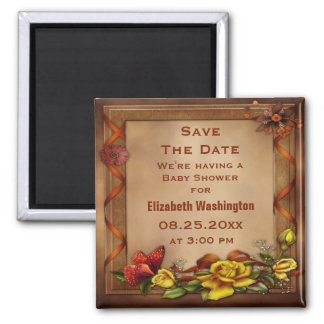 Roses & Butterfly Baby Shower Save the Date 2 Inch Square Magnet