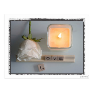 Roses Candlelight Words Postcard