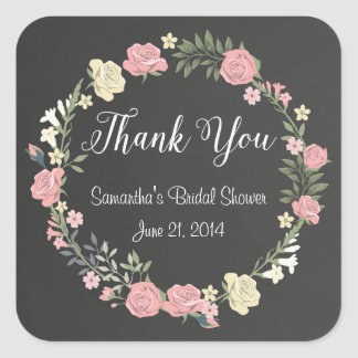 Roses Chalkboard Thank You Stickers
