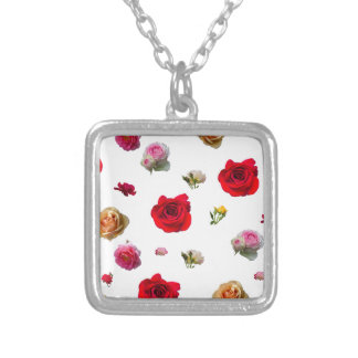 roses collage on white background silver plated necklace