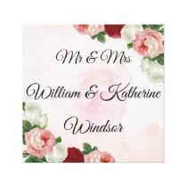 Roses Custom Mr & Mrs Canvas Wedding Decoration