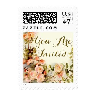 Roses, cute floral postage stamp