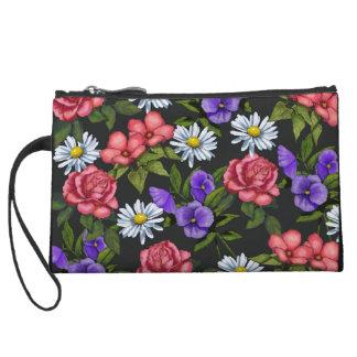 Roses, Daisies, Pansies on Black, Color Pencil Art Wristlets