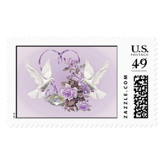 Roses, Doves And Wedding Rings Stamp