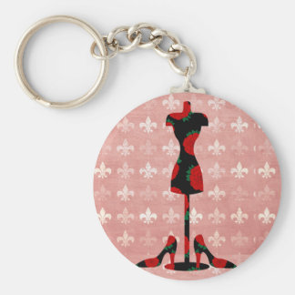 Roses Dress Form and Heels Keychain