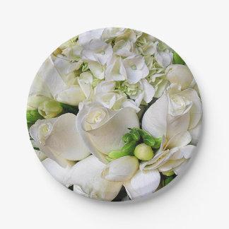 Roses_ feliz, blanco plato de papel 17,78 cm