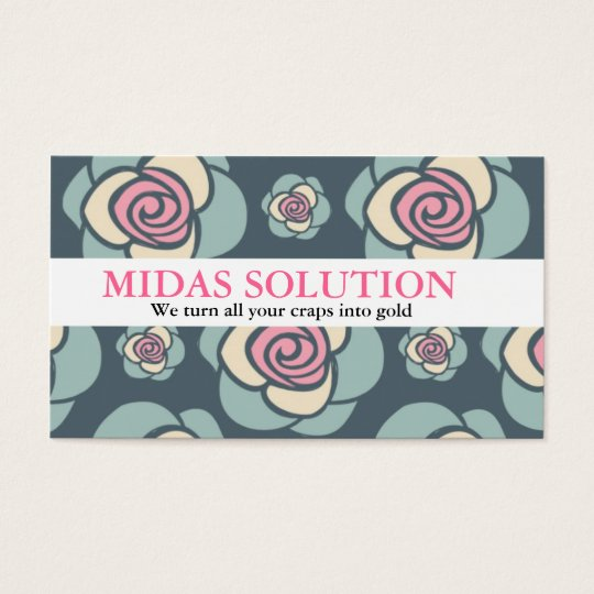 Roses Floral Pattern Pink and Blue Business Card