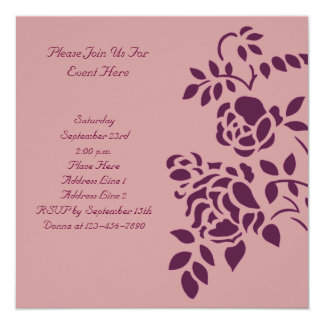 Roses Floral Stencil Art Invitation