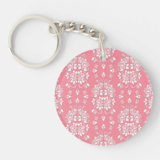 Roses Floral Style Damask Art Pattern Keychain