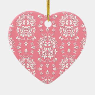 Roses Floral Style Damask Art Pattern Christmas Ornament