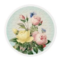 Roses floral vintage feminine edible frosting rounds