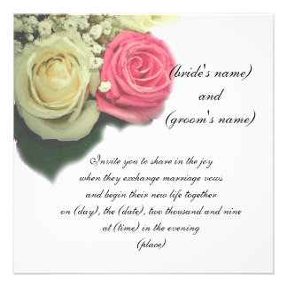 roses, floral, wedding invitation, template