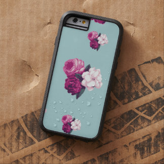 Roses, Flowers, Blooms, Leaves - Pink Green Blue Tough Xtreme iPhone 6 Case