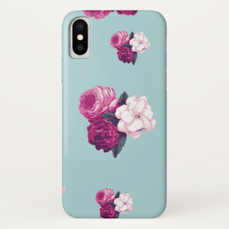Roses, Flowers, Blooms, Leaves - Pink Green Blue iPhone X Case