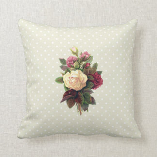 Roses, Flowers, Blooms, Leaves - Red Green White Throw Pillow