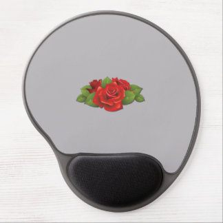 Roses, Flowers, Leaves, Petals - Red Green Gel Mouse Mats