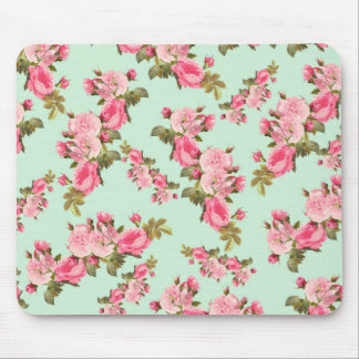 Roses, Flowers, Petals, Leaves - Pink Green Mouse Pad