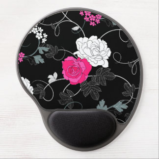 Roses, Flowers, Petals, Leaves - Pink White Black Gel Mouse Pad