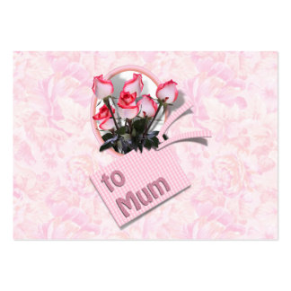 Roses For Mum (Floral Background) Large Business Cards (Pack Of 100)