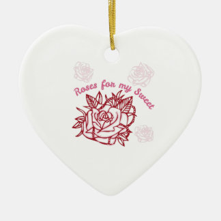 Roses For My Sweet Double-Sided Heart Ceramic Christmas Ornament