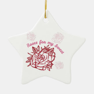Roses For My Sweet Double-Sided Star Ceramic Christmas Ornament