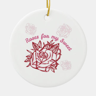 Roses For My Sweet Double-Sided Ceramic Round Christmas Ornament