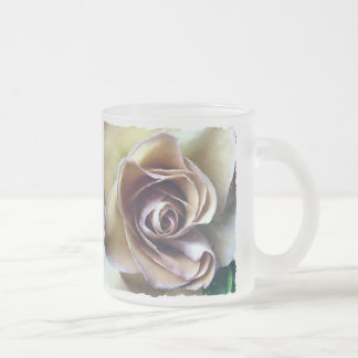 ROSES FROSTED GLASS COFFEE MUG