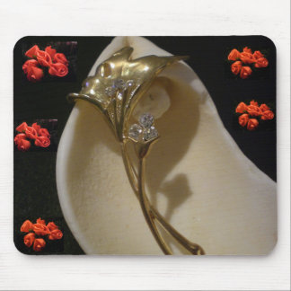 Roses, Gold and a Shell Mouse Pad