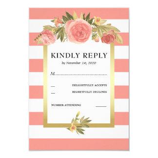 Roses & Gold Floral Wedding RSVP | Pink Stripes Card