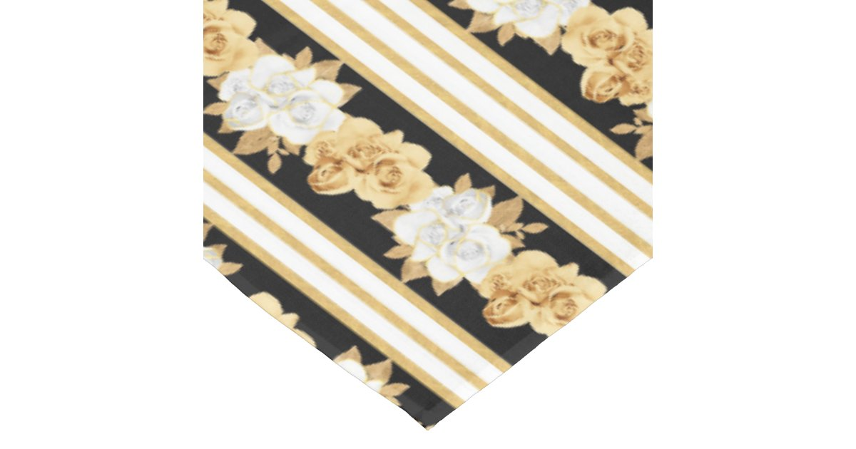 Roses Gold White Black Bouquets Stripes Tablecloth Zazzle