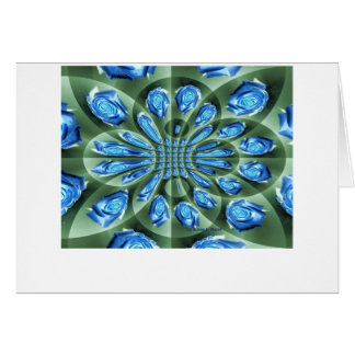Roses, green and blue shades, repeated greeting card