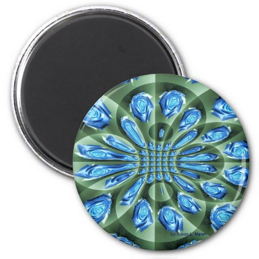 Roses, green and blue shades, repeated magnets