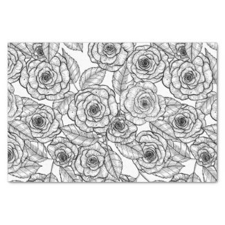 Roses hand drawn pattern tissue paper