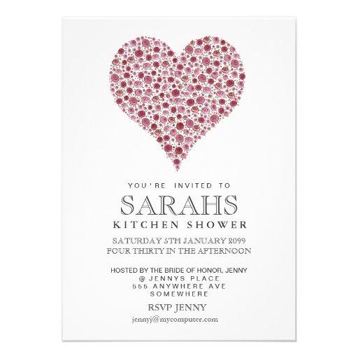 Roses Heart Kitchen Tea Bridal Shower Party Invite