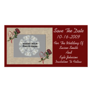 Roses Hearts Wedding Save The Date Photo Card