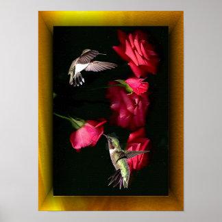 Roses & Hummingbirds 08-16-04c Print