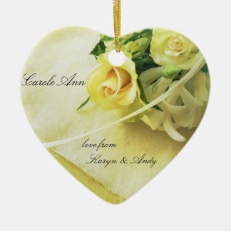 Roses, hyacinths, old handwriting heart ceramic ornament