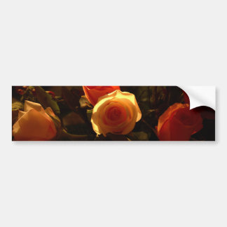 Roses I - Orange, Red and Gold Glory Bumper Sticker