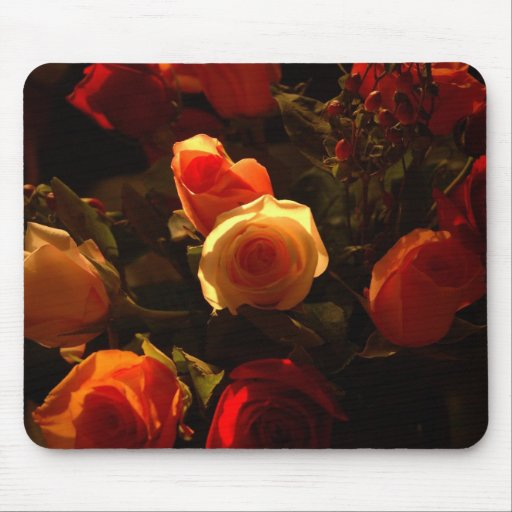 Roses I - Orange, Red and Gold Glory Mouse Pads