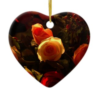 Roses I - Orange, Red and Gold Glory ornament