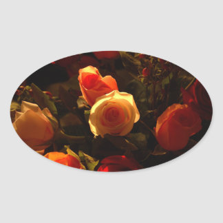 Roses I - Orange, Red and Gold Glory Oval Sticker